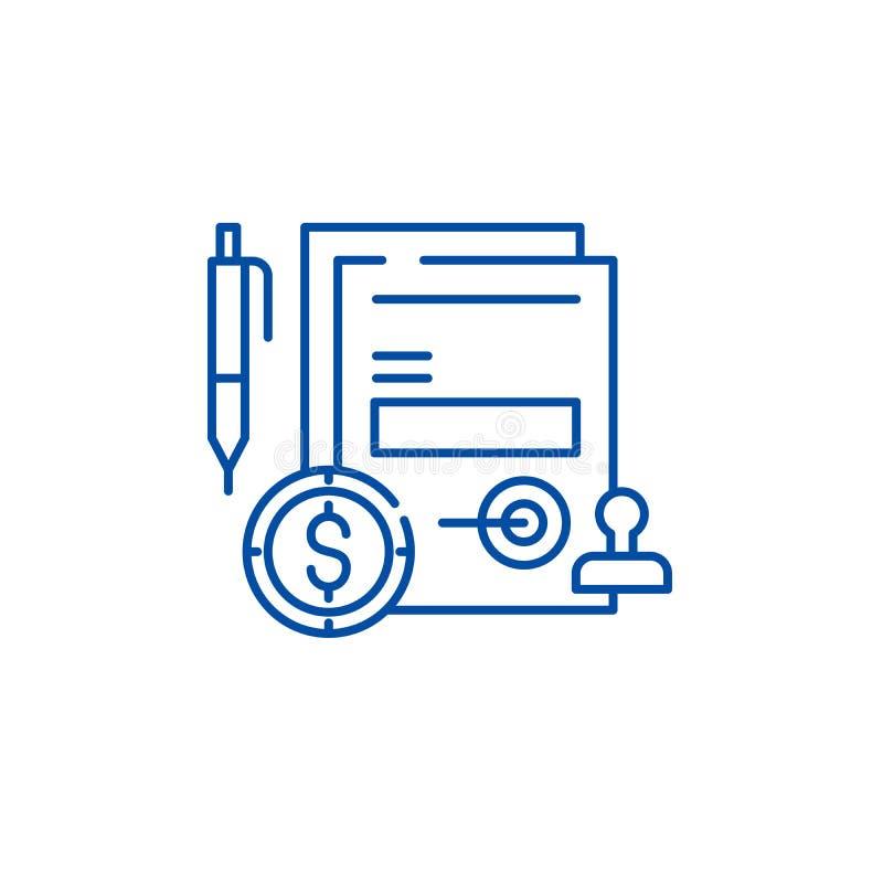 Affärsförpliktelselinje symbolsbegrepp Symbol för vektor för affärsförpliktelse plant, tecken, översiktsillustration vektor illustrationer