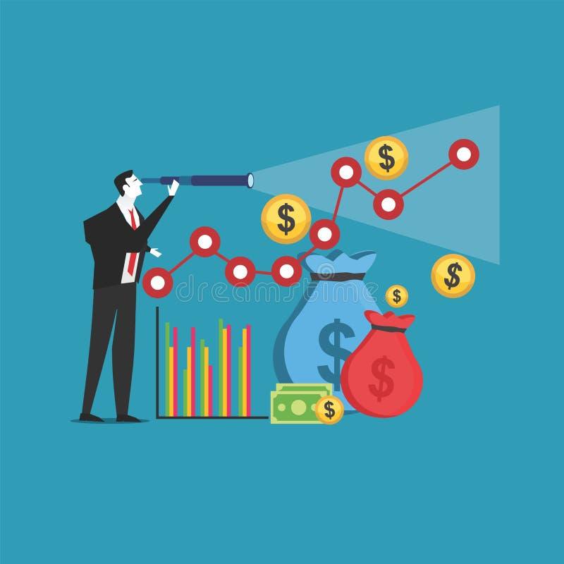 Affärsförutsägelse Räcka att peka affär kartlägger Beräkningbegrepp stock illustrationer