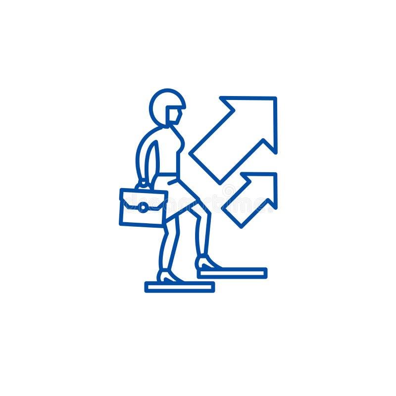 Affärsfeminismlinje symbolsbegrepp Symbol för vektor för affärsfeminism plant, tecken, översiktsillustration vektor illustrationer