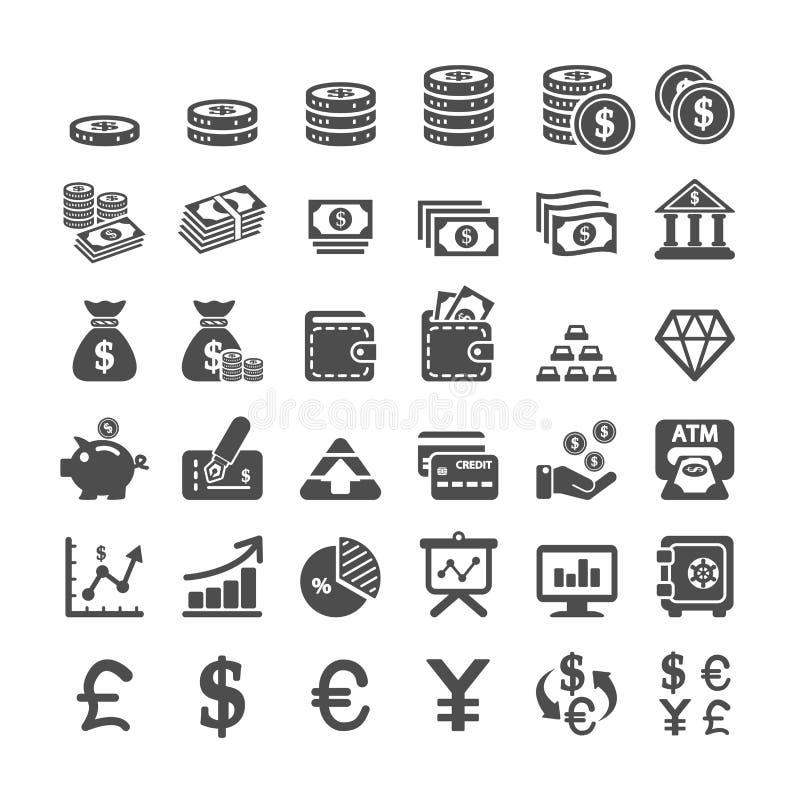 Affärsfinans och pengarsymbolsuppsättning, vektor eps10 vektor illustrationer