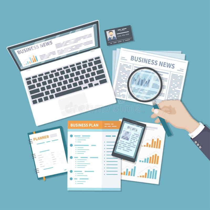 Affärsfinansanalytics, investeringplanläggning, information Tidning online-nyheterna på skärmen av en bärbar dator, telefon stock illustrationer