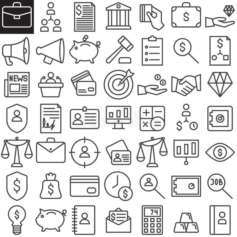 Affärsfinanslinje symbolsuppsättning royaltyfri illustrationer