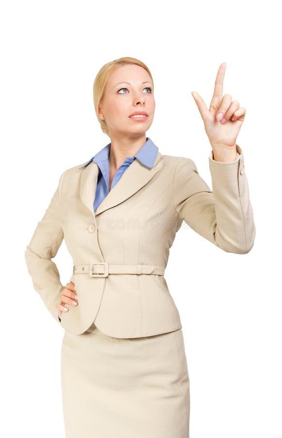 affärsfingerskärm som trycker på kvinnan arkivbilder