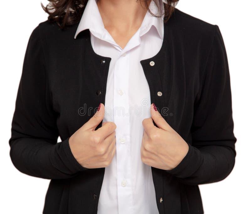 Affärsflicka i ett svart omslag och en vit skjorta arkivbilder