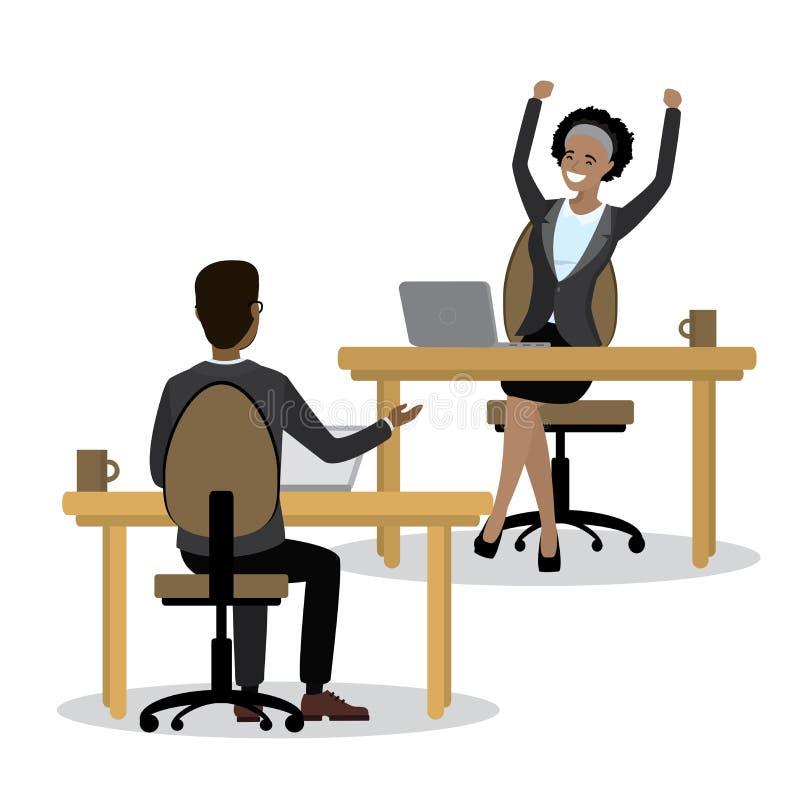 Affärsfolk eller kontorsarbetare som sitter i en arbetsplats royaltyfri illustrationer