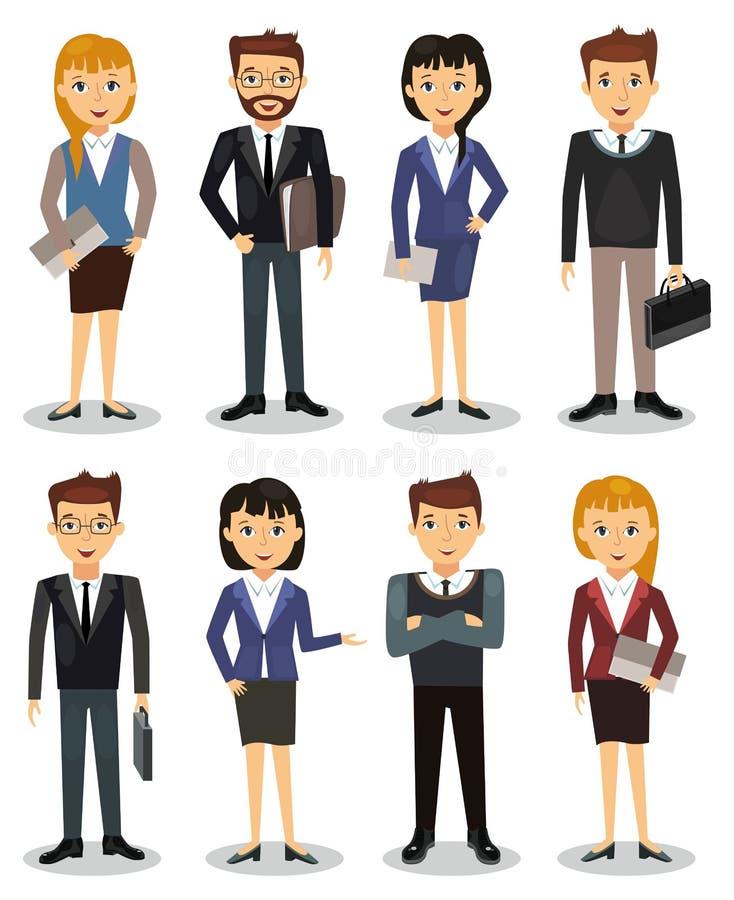 Affärsfolk, grupp av vektorn för kontorsarbetare royaltyfri illustrationer
