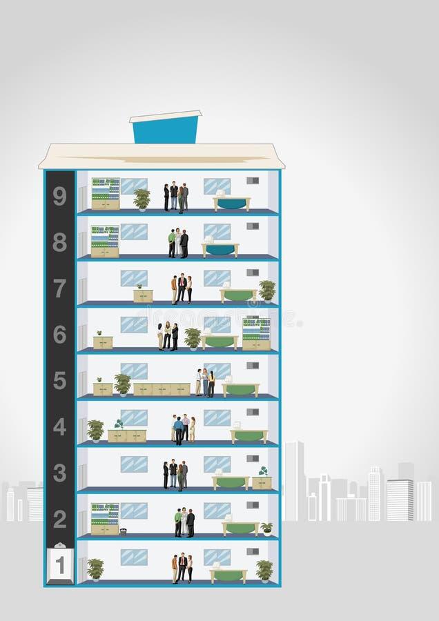 Affärsfolk i kontor vektor illustrationer