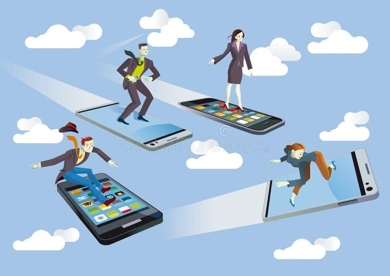 Affärsfolk med flygsmartphones royaltyfri illustrationer
