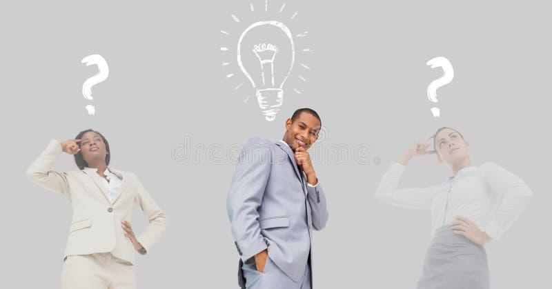 Affärsfolk med frågefläckar och diagram för ljus kula arkivfoton