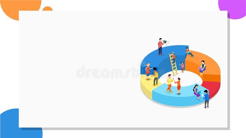Affärsfolk med olika tillväxtetapper, analyticsanalys datan med hjälp av infochart för teamworkbegrepp royaltyfri illustrationer