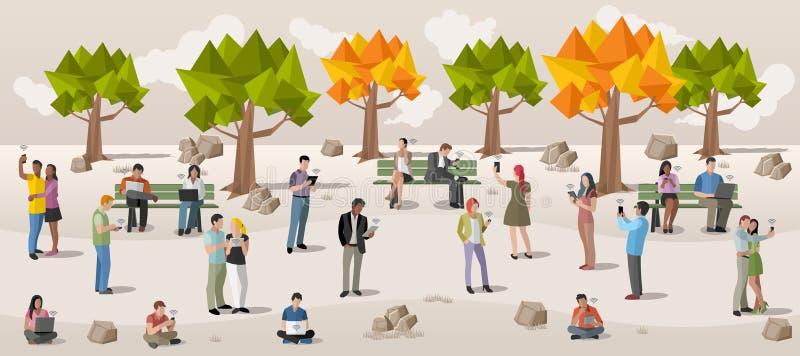 Affärsfolk med smarta telefoner och datorer royaltyfri illustrationer
