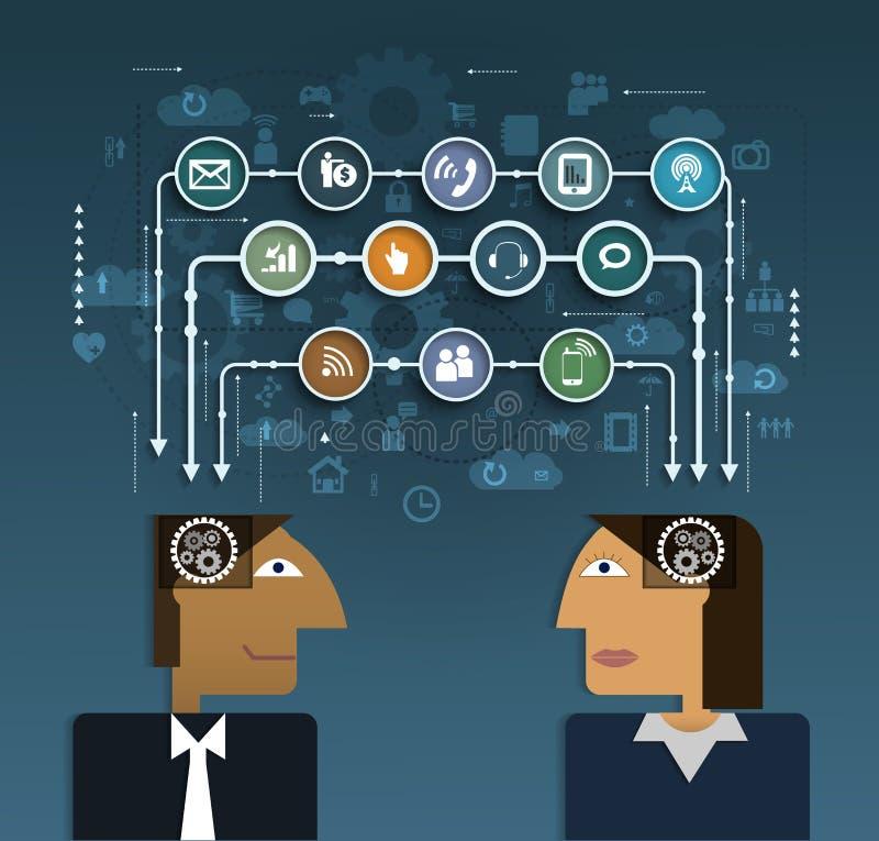 Affärsfolk med social nätverkskommunikation vektor illustrationer