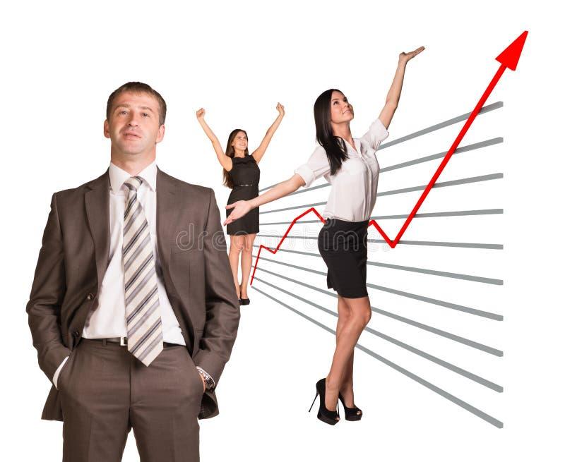 Affärsfolk och grafiskt diagram arkivbilder