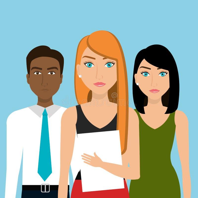 Affärsfolk och teamwork stock illustrationer