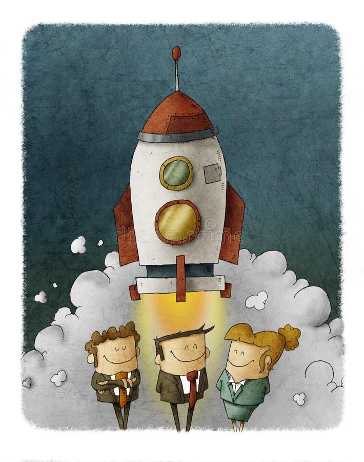 Affärsfolk på en lansering av en utrymmeraket royaltyfri illustrationer