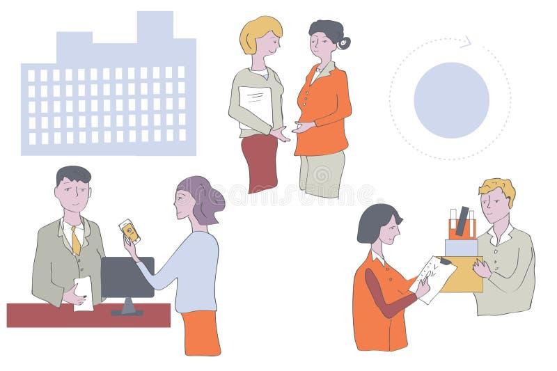 Affärsfolk på kontoret - arbeta i grupper stock illustrationer