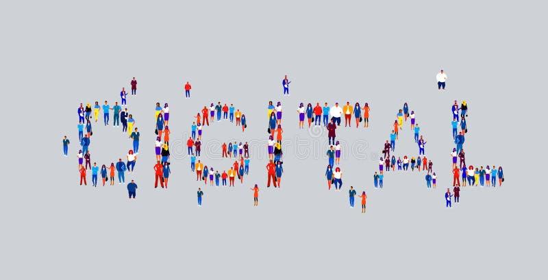 Affärsfolk samlar i form av digitalt ord olika grupper av anställda i företag som står tillsammans royaltyfri illustrationer