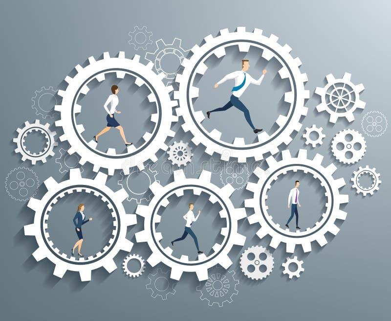 Affärsfolk som är rörande på kugghjulet royaltyfri illustrationer
