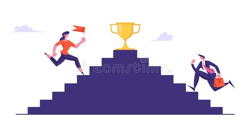 Affärsfolk som överst klättrar trappa med den guld- bägaren Affärsmannen och kvinnan med flaggan tar delen i affär royaltyfri illustrationer