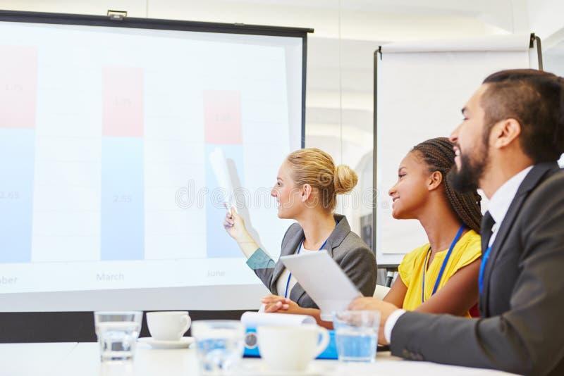 Affärsfolk som analyserar diagrammet med statistikdiagrammet fotografering för bildbyråer