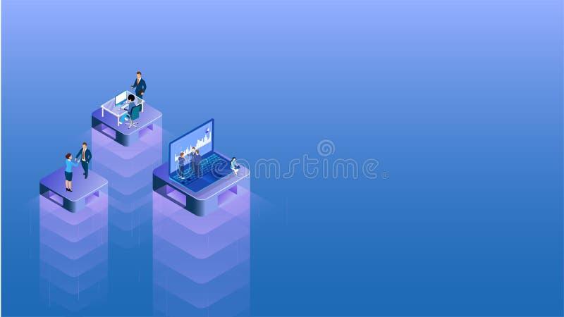 Affärsfolk som arbetar den olika plattformen i den jämna positionen för teamworkbegrepp royaltyfri illustrationer