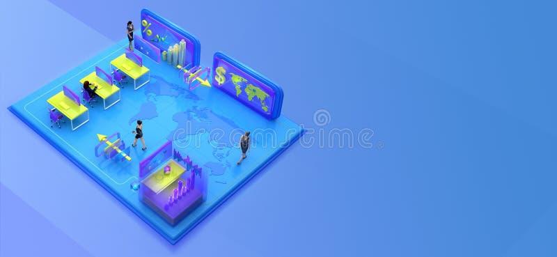 Affärsfolk som arbetar i det isometriska faktiska kontoret royaltyfri illustrationer