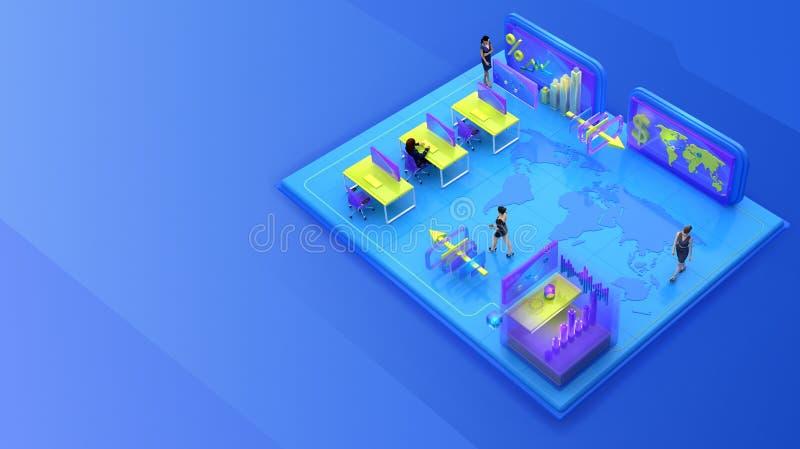 Affärsfolk som arbetar i det isometriska faktiska kontoret vektor illustrationer