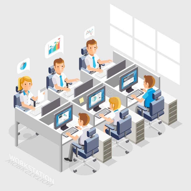 Affärsfolk som arbetar på ett kontorsskrivbord stock illustrationer