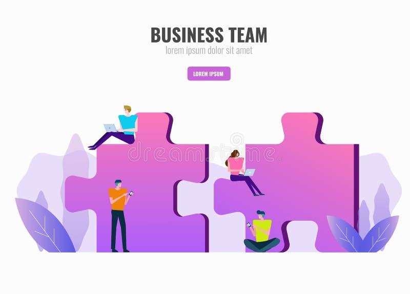 Affärsfolk som arbetar på pussel Affärsteamwork och partner stock illustrationer