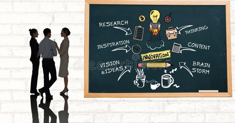 Affärsfolk som diskuterar, medan stå vid innovationdiagrammet på svart tavla stock illustrationer