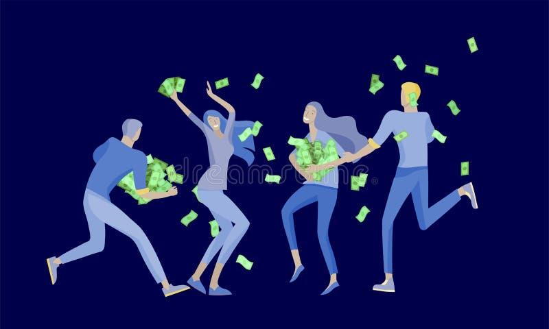 Affärsfolk som firar seger Affärslaganseende under pengarregn Tecknad filmstil, plan vektorillustration royaltyfri illustrationer