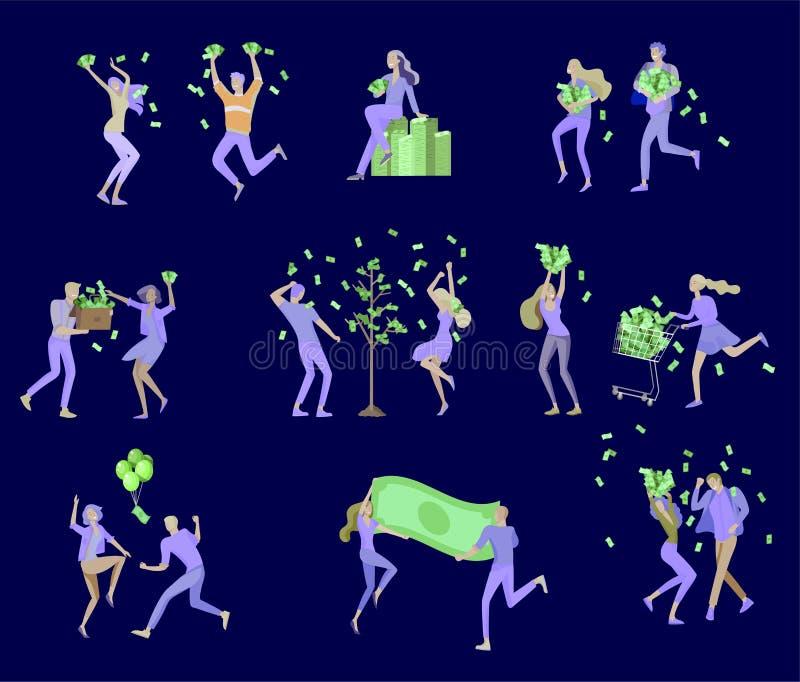 Affärsfolk som firar seger Affärslaganseende under pengarregn Tecknad filmstil, plan vektorillustration vektor illustrationer