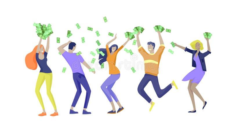 Affärsfolk som firar seger Affärslaganseende under pengarregn Tecknad filmstil, plan vektorillustration stock illustrationer