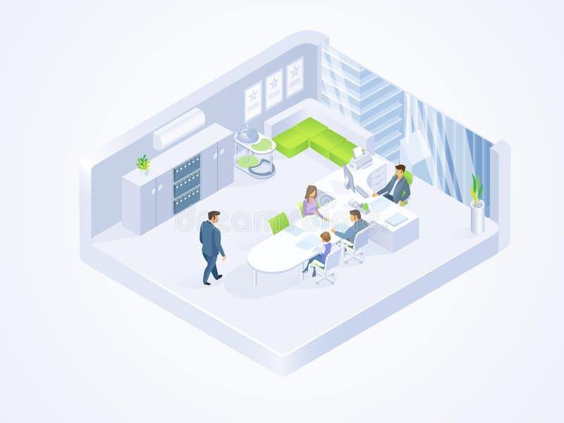 Affärsfolk som i regeringsställning arbetar den isometriska vektorn stock illustrationer