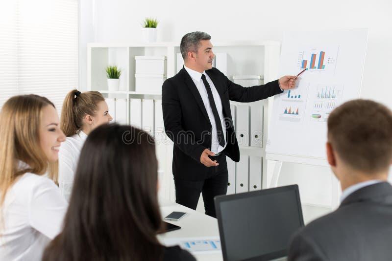 Affärsfolk som i regeringsställning möter för att diskutera projekt royaltyfri foto