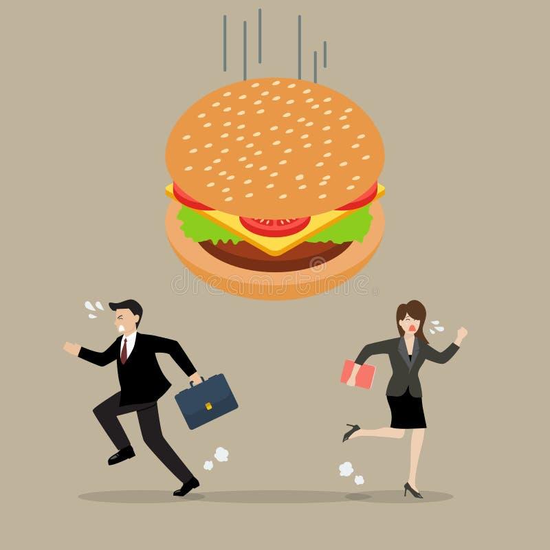 Affärsfolk som körs i väg från hamburgarekris stock illustrationer