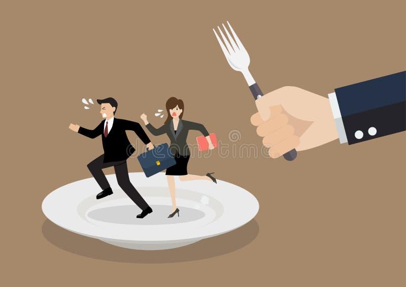Affärsfolk som körs i väg från stor hungrig man vektor illustrationer