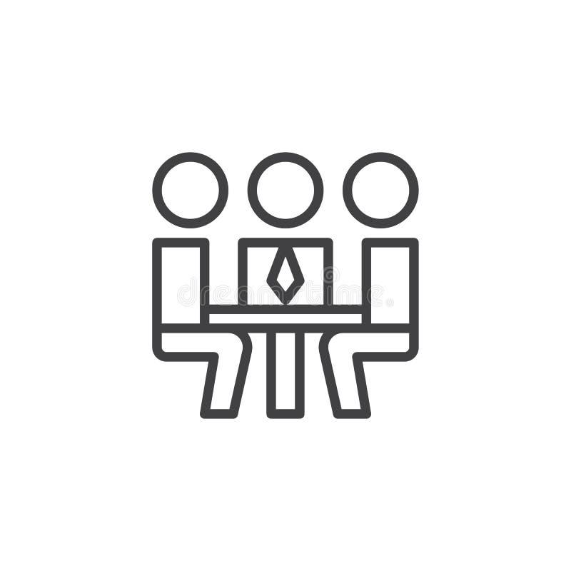 Affärsfolk som möter översiktssymbolen stock illustrationer