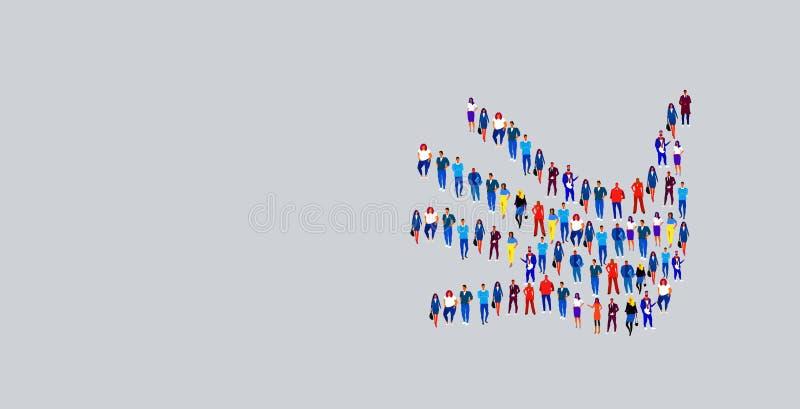 Affärsfolk som samlas i form av handsymboler för sociala medier i form av företagsgrupp vektor illustrationer