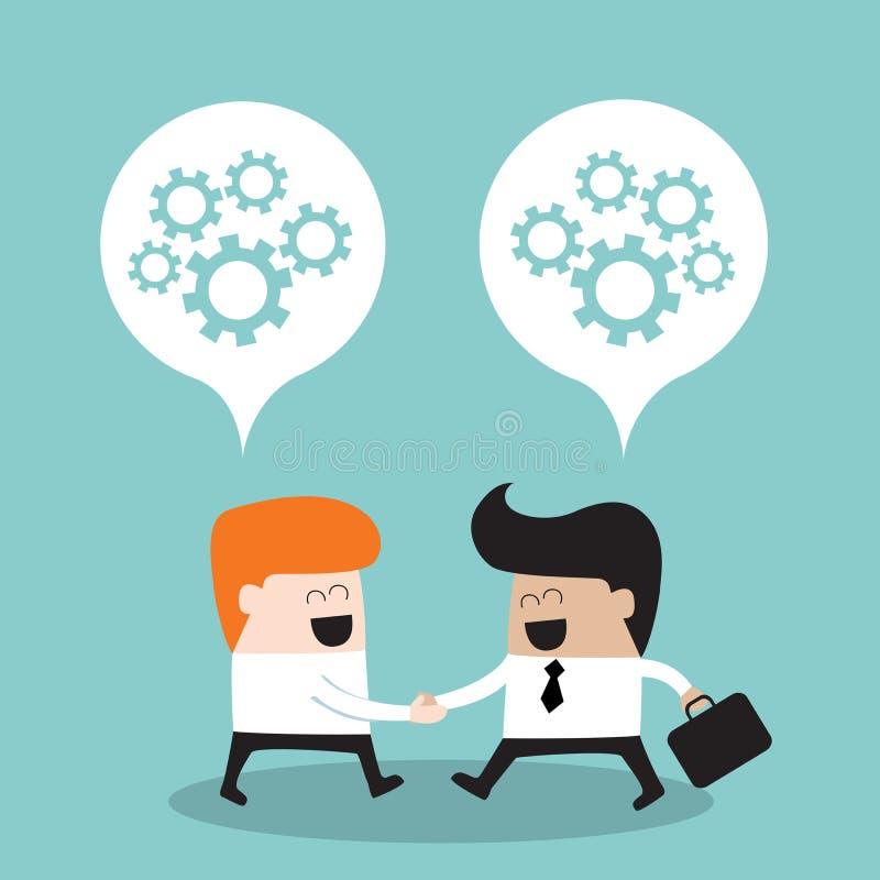 Affärsfolk som skakar händer och tänker om deras lyckade affärsidé för partnerskap vektor illustrationer