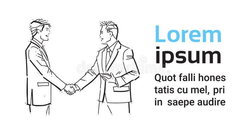 Affärsfolk som skakar händer under mötet, överenskommelse som är främst av affärsmandiskussionskollegor som meddelar stock illustrationer