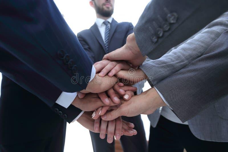 Affärsfolk som tillsammans viker deras händer arkivbild