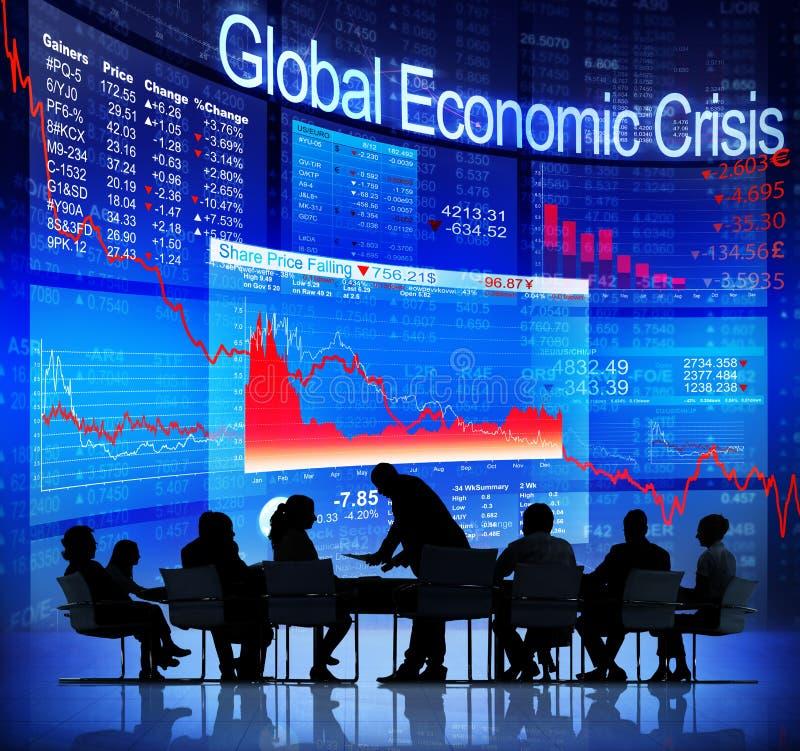 Affärsfolk som vänder mot global ekonomisk kris arkivfoto