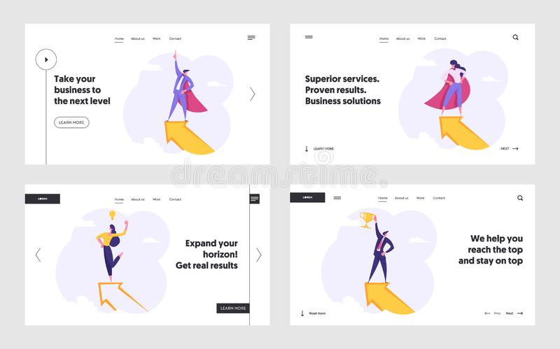 Affärsfolk, superhjälte-tecken på den stora pilens webbplats Landing Page Set, Ledarskap, Framgångsrik konkurrens stock illustrationer