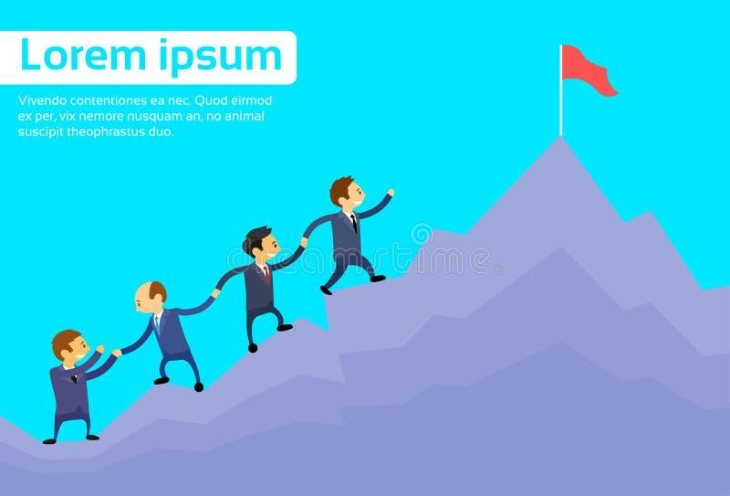 Affärsfolk Team Climbing Top Peak stock illustrationer