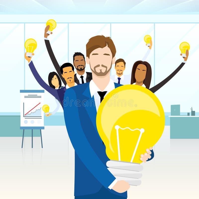 Affärsfolk Team Group Idea Concept Bulb vektor illustrationer