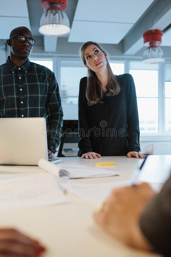Affärsfolk under ett möte arkivbild