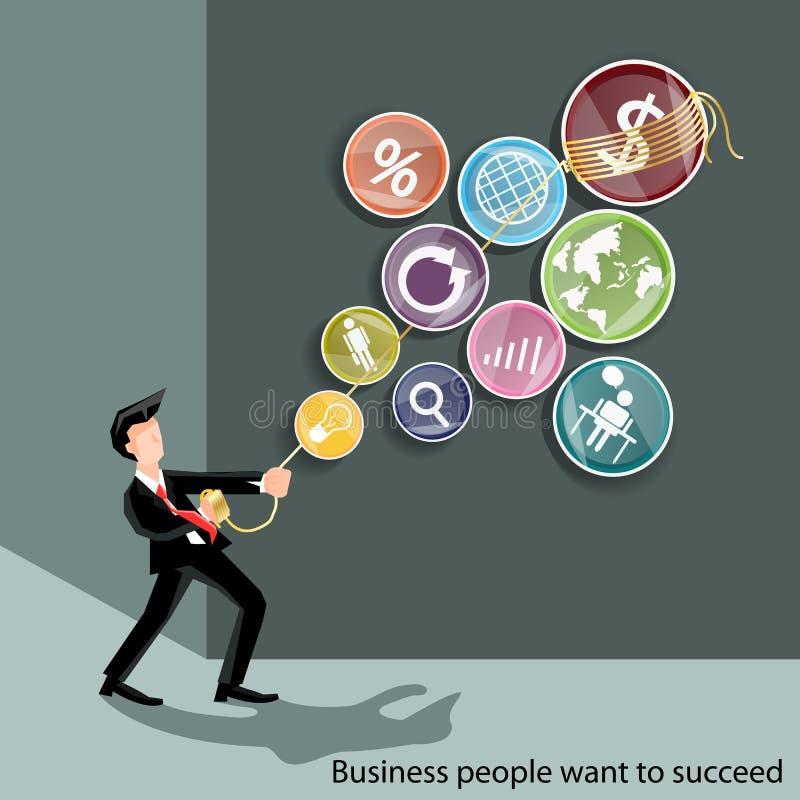 Affärsfolket önskar att lyckas royaltyfri illustrationer