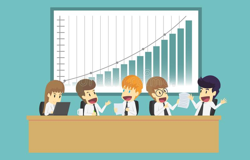 Affärsfolket som analyserar dokumentinkomst, kartlägger och grafer royaltyfri illustrationer