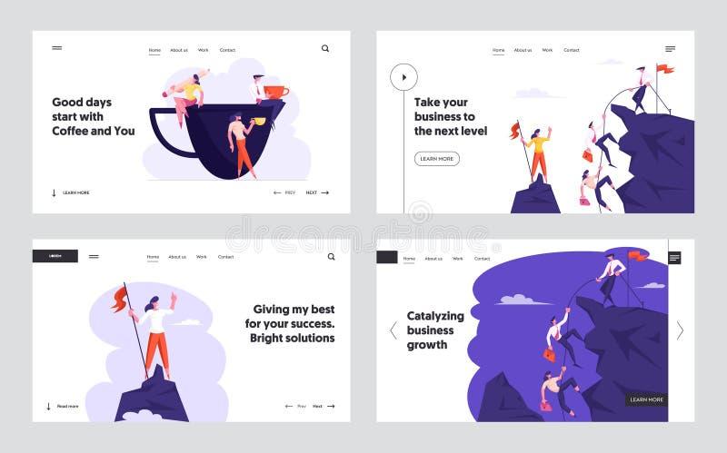 Affärsfolket som klättrar på berget, kontorsarbetare på kaffe, bryter uppsättningen för Websitelandningsidan, tecken sitter på ko royaltyfri illustrationer